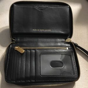 Marc by Marc Jacobs black leather wristlet wallet